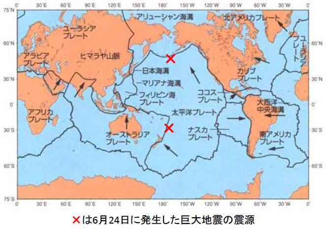 6月24日の地震の震源