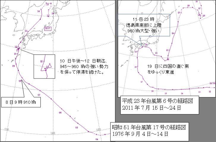 四国に記録的大雨を降らせた動きの遅い台風