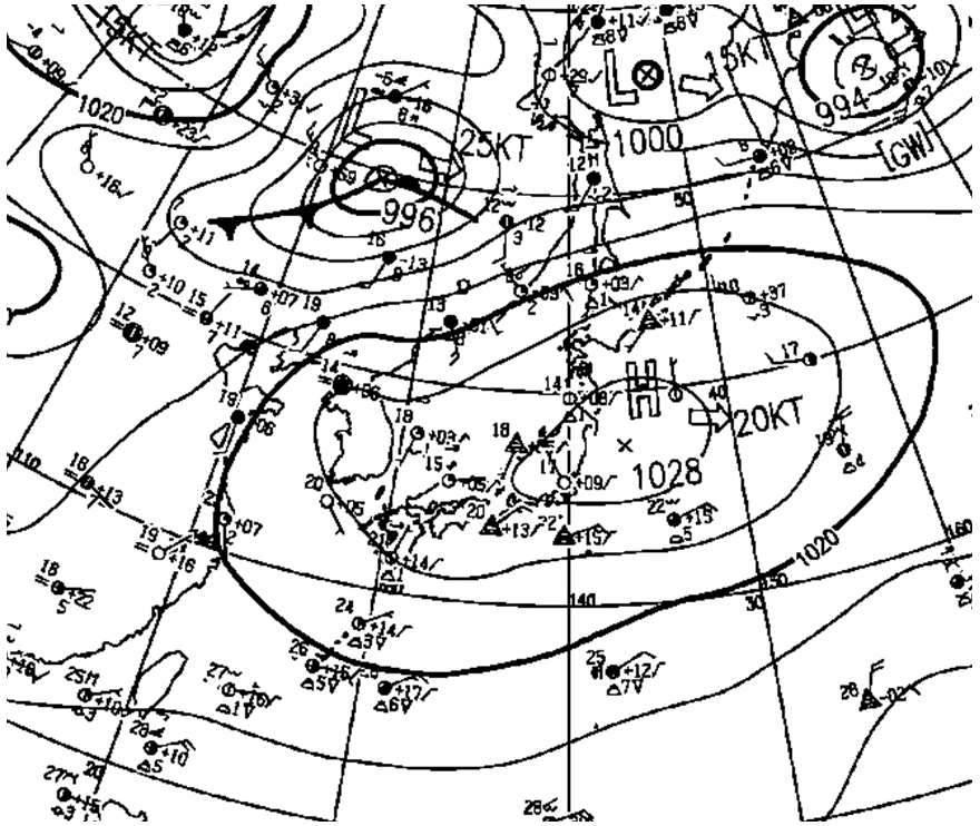 北日本の東海上に見える複雑な模様は