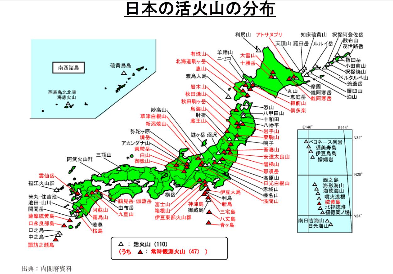日本の活火山の分布