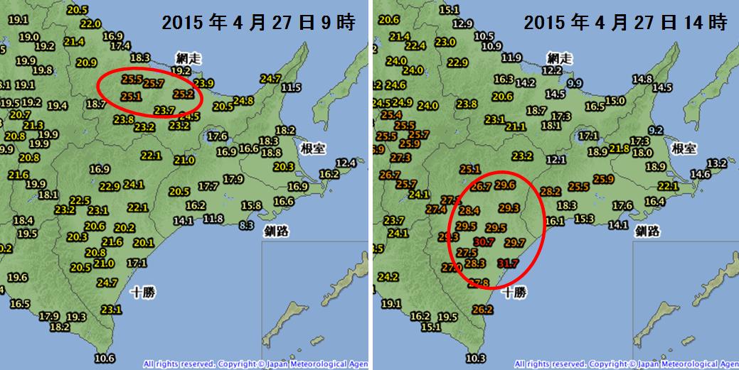 北海道の高温と急激な気温変化_1