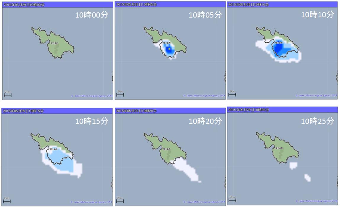 口永良部島噴火を捉えたレーダー